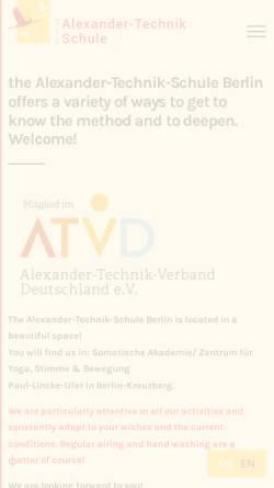 Vorschau der mobilen Webseite alexander-technik-schule.de, Alexander-Technik-Schule Berlin