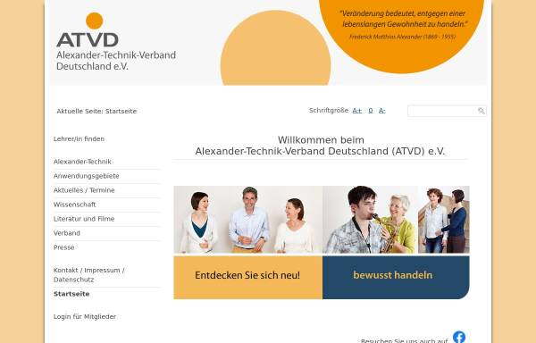 Vorschau von www.alexander-technik.org, Gesellschaft der Lehrer/innen der F.M. Alexander-Technik