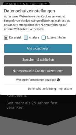 Vorschau der mobilen Webseite www.marketing-factory.de, Marketing Factory Consulting GmbH