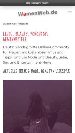 Vorschau der mobilen Webseite www.womenweb.de, WomenWeb.de