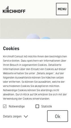 Vorschau der mobilen Webseite www.kirchhoff.de, Kirchhoff Consult AG