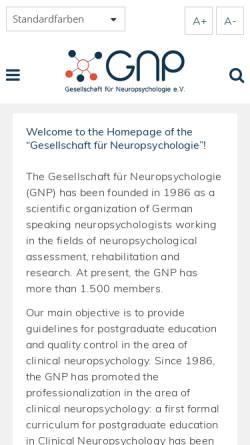 Vorschau der mobilen Webseite www.gnp.de, Deutsche Gesellschaft für Neuropsychologie (GNP)