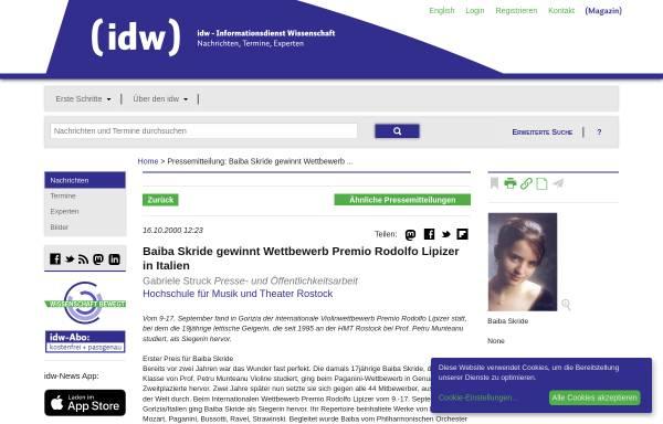 Vorschau von idw-online.de, Baiba Skride gewinnt den Wettbewerb Premio Rodolfo Lipizer in Italien
