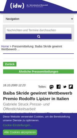 Vorschau der mobilen Webseite idw-online.de, Baiba Skride gewinnt den Wettbewerb Premio Rodolfo Lipizer in Italien