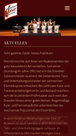 Vorschau der mobilen Webseite www.dresdner-salonorchester.de, Dresdner Salonorchester
