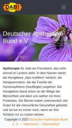 Vorschau der mobilen Webseite www.apitherapie.de, Deutscher Apitherapie Bund e.V.