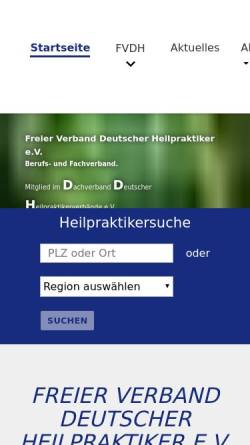 Vorschau der mobilen Webseite www.fvdh.de, Freier Verband Deutscher Heilpraktiker e.V. (FVDH)