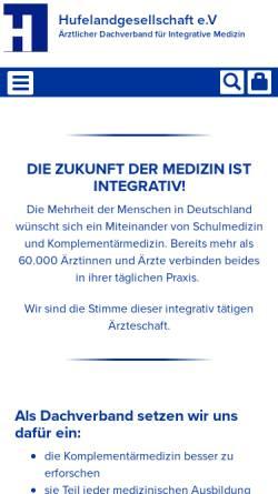 Vorschau der mobilen Webseite www.hufelandgesellschaft.de, Hufelandgesellschaft e.V.