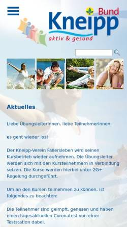 Vorschau der mobilen Webseite www.kneipp-verein-fallersleben.de, Kneipp Verein Fallersleben e.V.