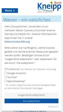 Vorschau der mobilen Webseite www.kneippbund.de, Kneipp-Bund Deutschland e.V.