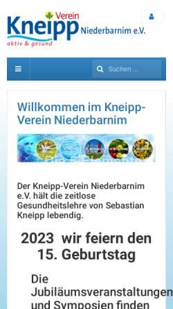 Vorschau der mobilen Webseite www.kneipp-verein-niederbarnim.de, Kneipp-Verein Niederbarnim