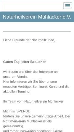 Vorschau der mobilen Webseite naturheilverein-muehlacker.jimdo.com, Naturheilverein Mühlacker e.V.
