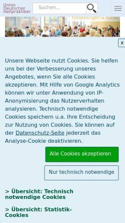 Vorschau der mobilen Webseite www.udh-hessen.de, Union Deutscher Heilpraktiker Landesverband Hessen