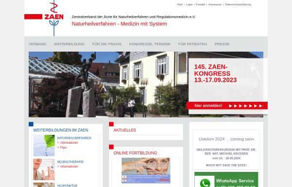 Vorschau von www.zaen.de, ZÄN - Zentralverband der Ärzte für Naturheilverfahren