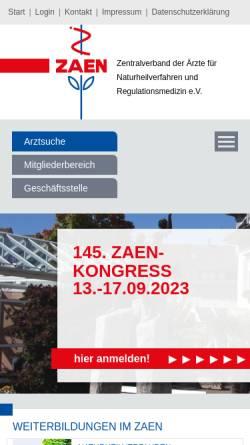 Vorschau der mobilen Webseite www.zaen.de, ZÄN - Zentralverband der Ärzte für Naturheilverfahren