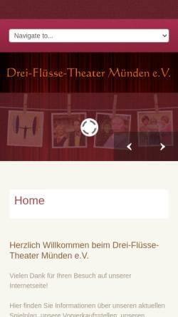 Vorschau der mobilen Webseite www.drei-fluesse-theater.de, Hannoversch Münden, Drei-Flüsse-Theater Münden e.V.