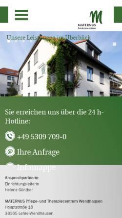 Vorschau der mobilen Webseite wendhausen.maternus.de, Maternus Pflege- und Therapiezentrum Wendhausen