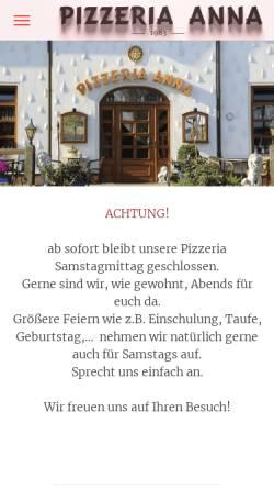 Vorschau der mobilen Webseite www.pizzeria-anna.de, Pizzeria Anna