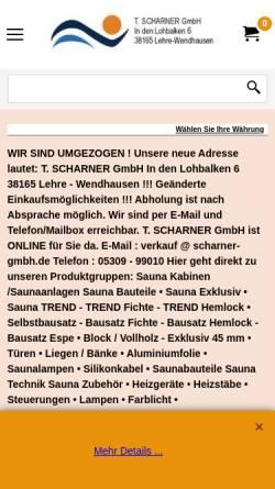 Vorschau der mobilen Webseite www.sauna-selbstbau.de, T. Scharner GmbH