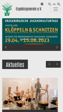 Vorschau der mobilen Webseite www.erzgebirgsverein.de, Erzgebirgsverein