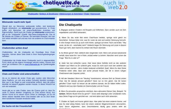 Vorschau von www.chatiquette.de, Chatiquette