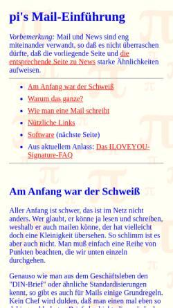 Vorschau der mobilen Webseite piology.org, Einführung in E-Mail