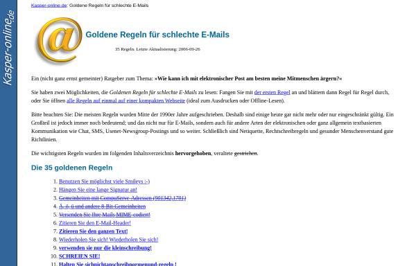 Vorschau von www.kasper-online.de, Goldene Regeln für schlechte E-Mails