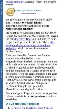 Vorschau der mobilen Webseite www.kasper-online.de, Goldene Regeln für schlechte E-Mails