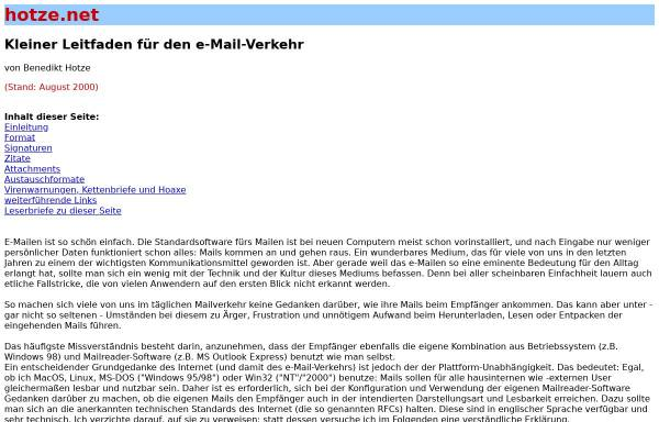 Vorschau von www.hotze.net, Kleiner Leitfaden für den e-Mail-Verkehr
