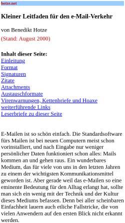 Vorschau der mobilen Webseite www.hotze.net, Kleiner Leitfaden für den e-Mail-Verkehr