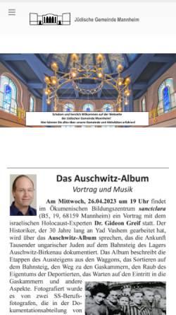 Vorschau der mobilen Webseite www.jgm-net.de, Jüdische Gemeinde Mannheim