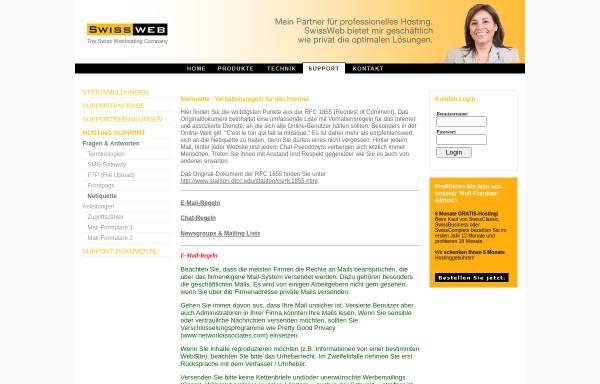 Vorschau von support.swiss-web.com, Swiss-web.com: Typische Internet-Begriffe