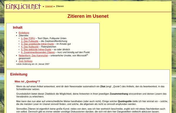 Vorschau von einklich.net, Zitieren im Usenet