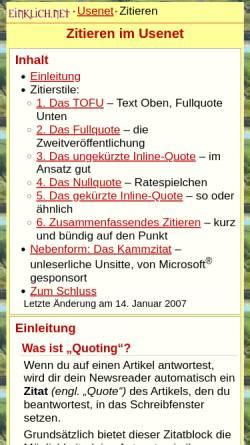 Vorschau der mobilen Webseite einklich.net, Zitieren im Usenet