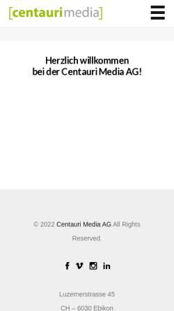 Vorschau der mobilen Webseite www.centauri-media.ch, Centauri-Media AG