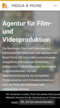 Vorschau der mobilen Webseite www.mediaandmore.net, Media & More Film- und Fotoproduktion, Alexander K. Mueller