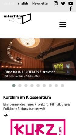Vorschau der mobilen Webseite www.interfilm.de, Interfilm Berlin Management GmbH