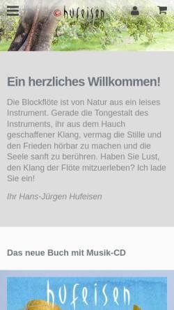 Vorschau der mobilen Webseite www.hufeisen.de, Hufeisen Musik Vertrieb, Ute und Christian Halberstadt