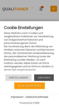 Vorschau der mobilen Webseite www.qualitainer.de, Qualitainer, Inh. Alexander Monz