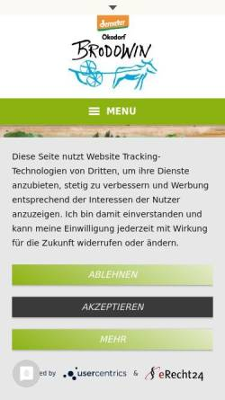 Vorschau der mobilen Webseite www.oekokorb-brodowin.de, OnlineShop mit Demeter- und Bio- Produkten