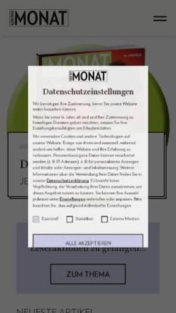 Vorschau der mobilen Webseite www.monat.at, Kärntner Monat