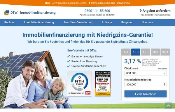 Vorschau von www.immobilienfinanzierung.de, DTW Fonds-Service GmbH