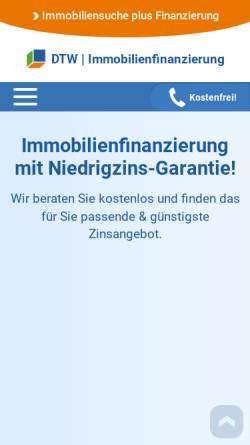 Vorschau der mobilen Webseite www.immobilienfinanzierung.de, DTW Fonds-Service GmbH