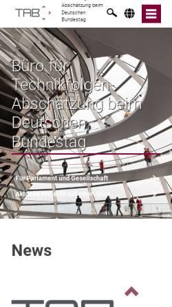 Vorschau der mobilen Webseite www.tab-beim-bundestag.de, Büro für Technikfolgen-Abschätzung beim Deutschen Bundestag (TAB)