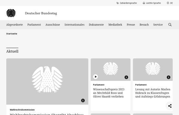 Vorschau von www.bundestag.de, Deutscher Bundestag
