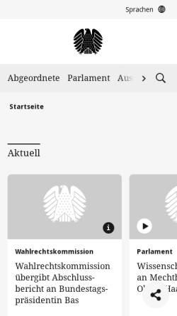 Vorschau der mobilen Webseite www.bundestag.de, Deutscher Bundestag