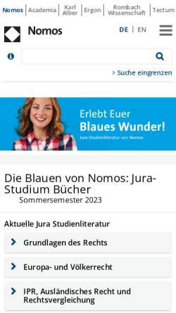 Vorschau der mobilen Webseite www.studjur-online.de, Stud.Jur. von Nomos