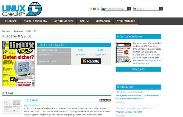 Vorschau von www.linux-user.de, Arbeiten mit Plugins