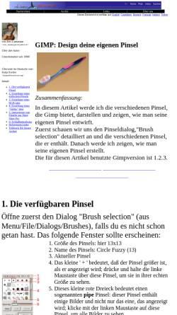 Vorschau der mobilen Webseite www.linuxfocus.org, Design deine eigenen Pinsel
