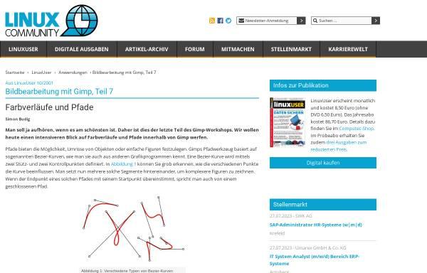 Vorschau von www.linux-community.de, Farbverläufe und Pfade